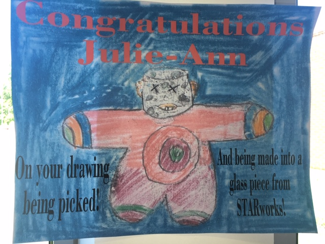 Congratulations Julie-Ann on your drawing being picked to be made into a glass piece from STARworks!