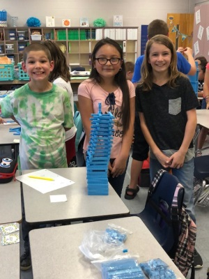 Coleridge Students Working in Teams Building Towers