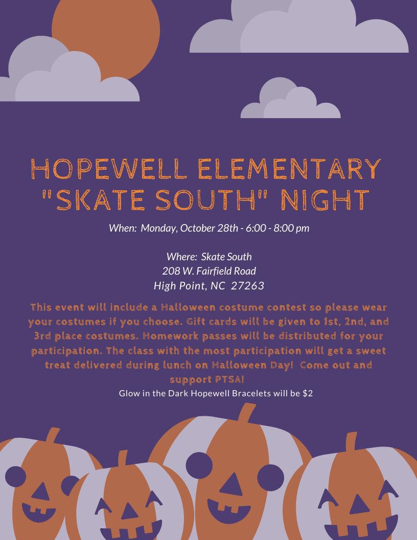 Flyer for Halloween Skate Night