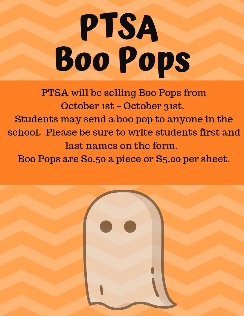 Flyer for PTSA Boo Pops