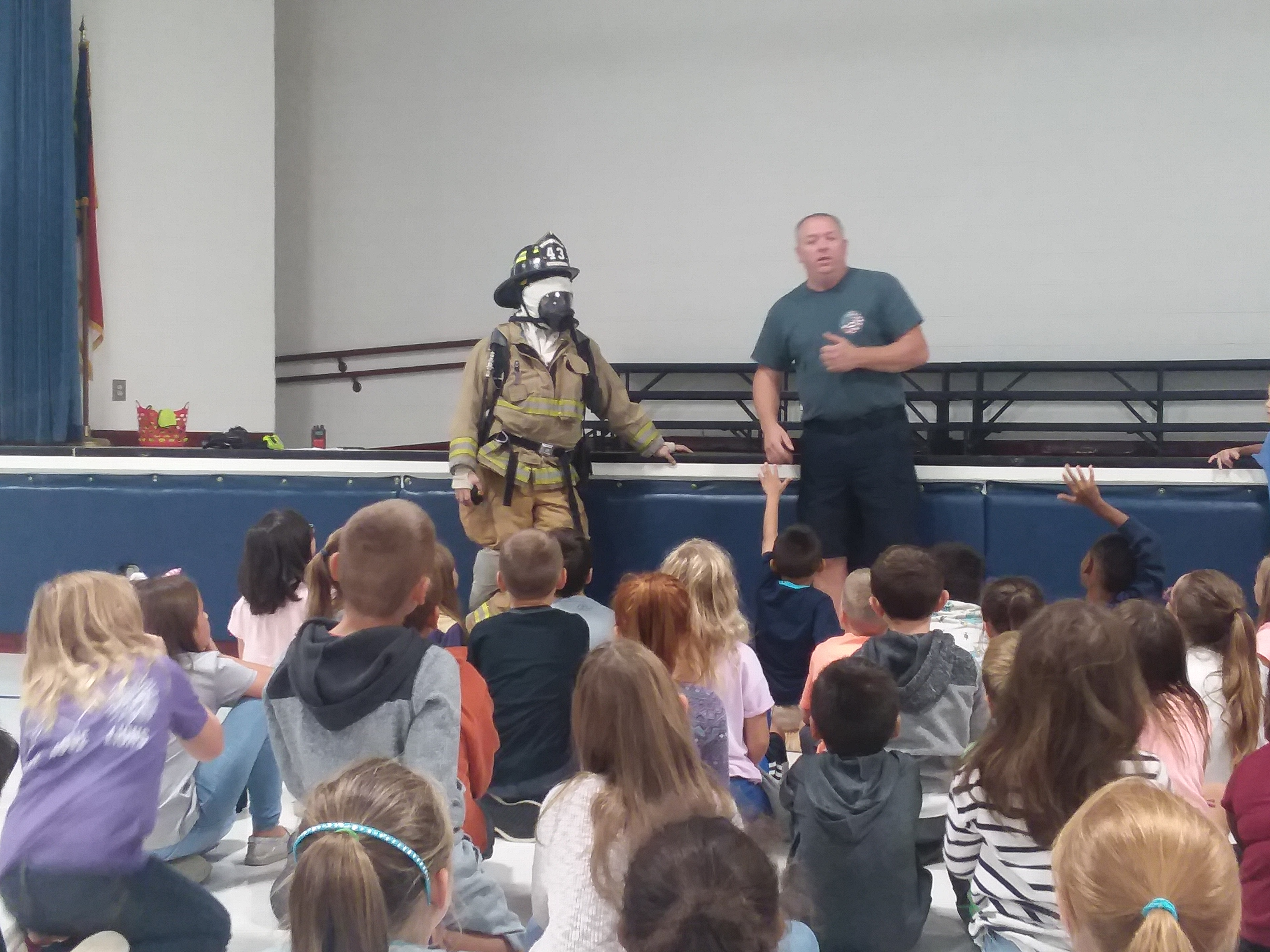 Firefighters and students