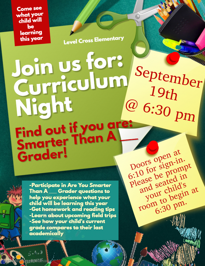 Curriculum Night September 19th 6:30