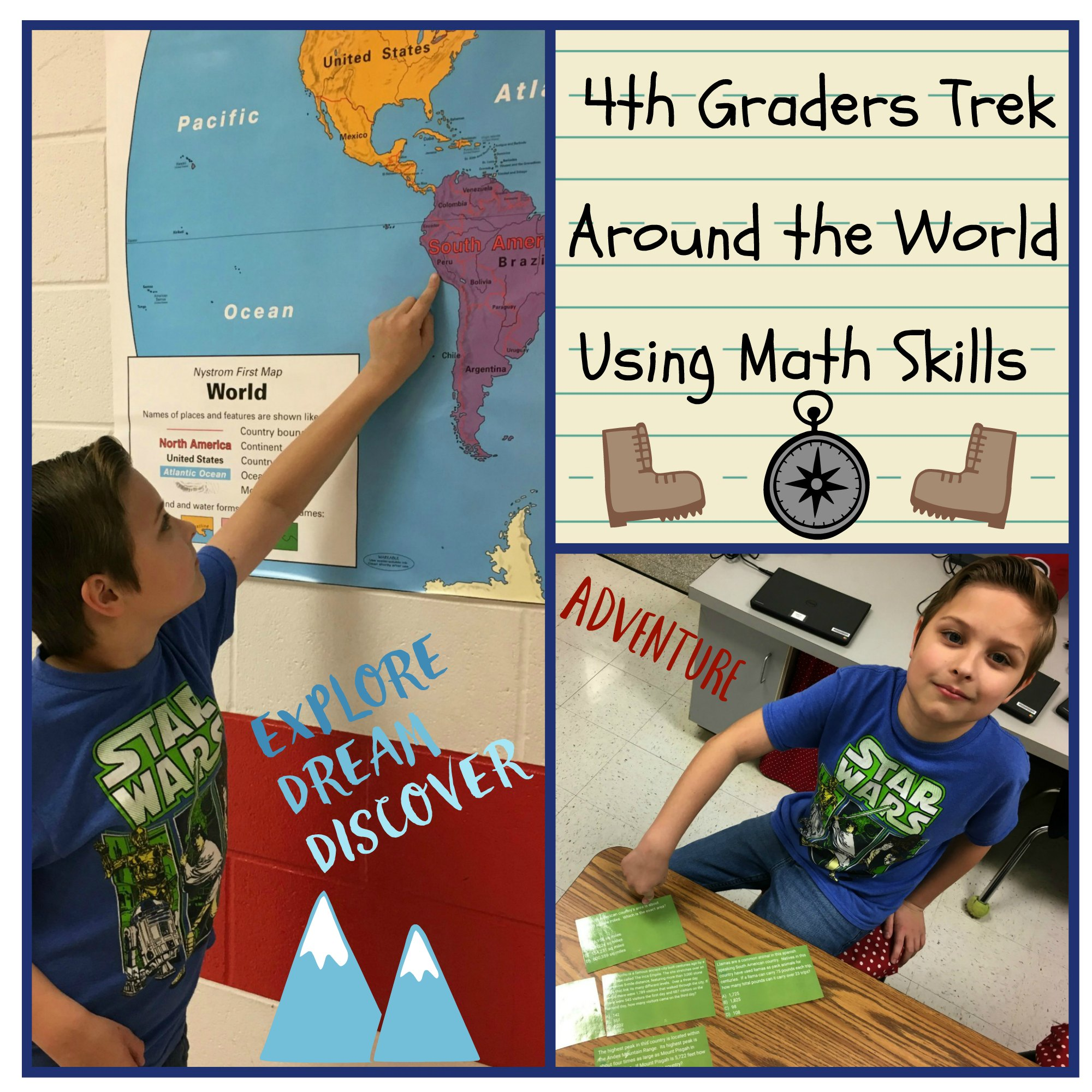 collage pictures of 4th grade's trek across the world