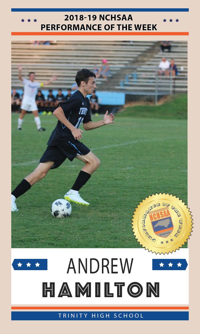 andrew hamilton, NCHSAA performance of the week card