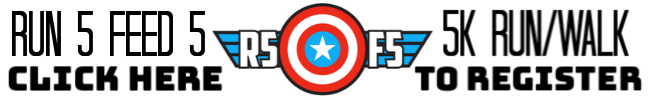 Banner with image of Captain America shield (red and white concentric circles with white star on a blue circle in the middle with letters R5F5; Text reads Run 5 Feed 5K race/walk, click here to register