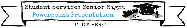Rectangular banner with black outline of an announcement banner with images of a graduation cap and scroll, text reads