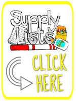Rectangular button with yellow border and images of school supplies (a marker, a box of crayons, a bottle of glue) with text that reads