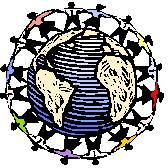 Image of people joining hands circling the globe.