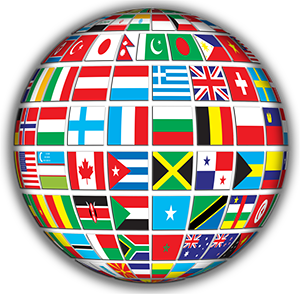 World made up of different country flags