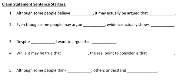Claim Statement Sentence Starters