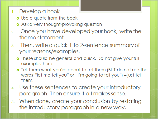 Notes for Writing an Introductory Paragraph