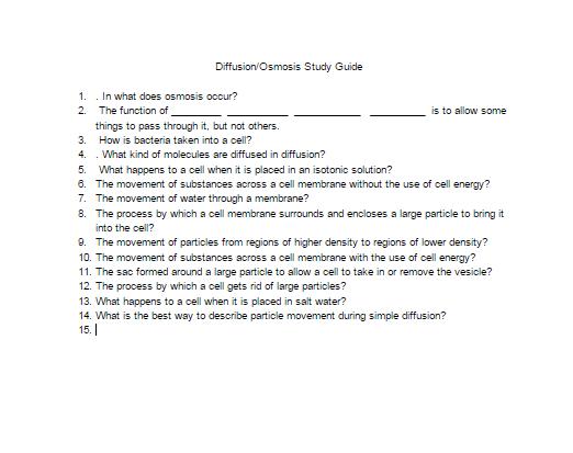 Diffusion/Osmosis study guide