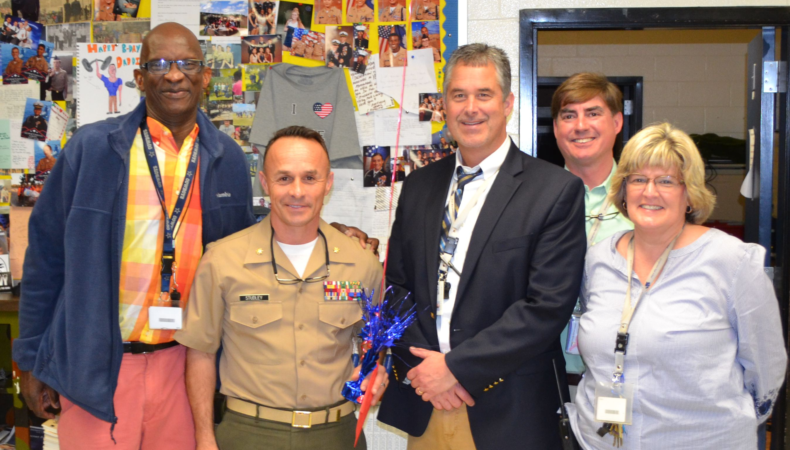 Major Studley congratulated by the GHS Administrators