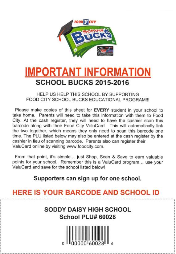 Food City School Bucks