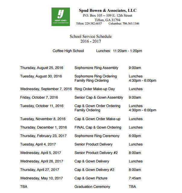 Coffee High School Latest News Herff Jones Schedule 2016 17