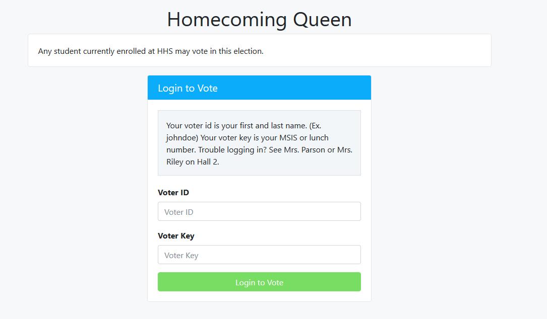 homecoming queen voting