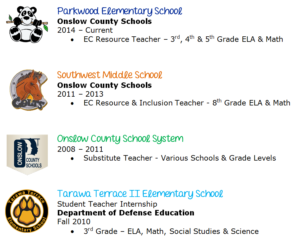 Parkwood Elementary School, Southwest Middle School, Onslow County School System, and Tarawa Terrace 2 Elementary School