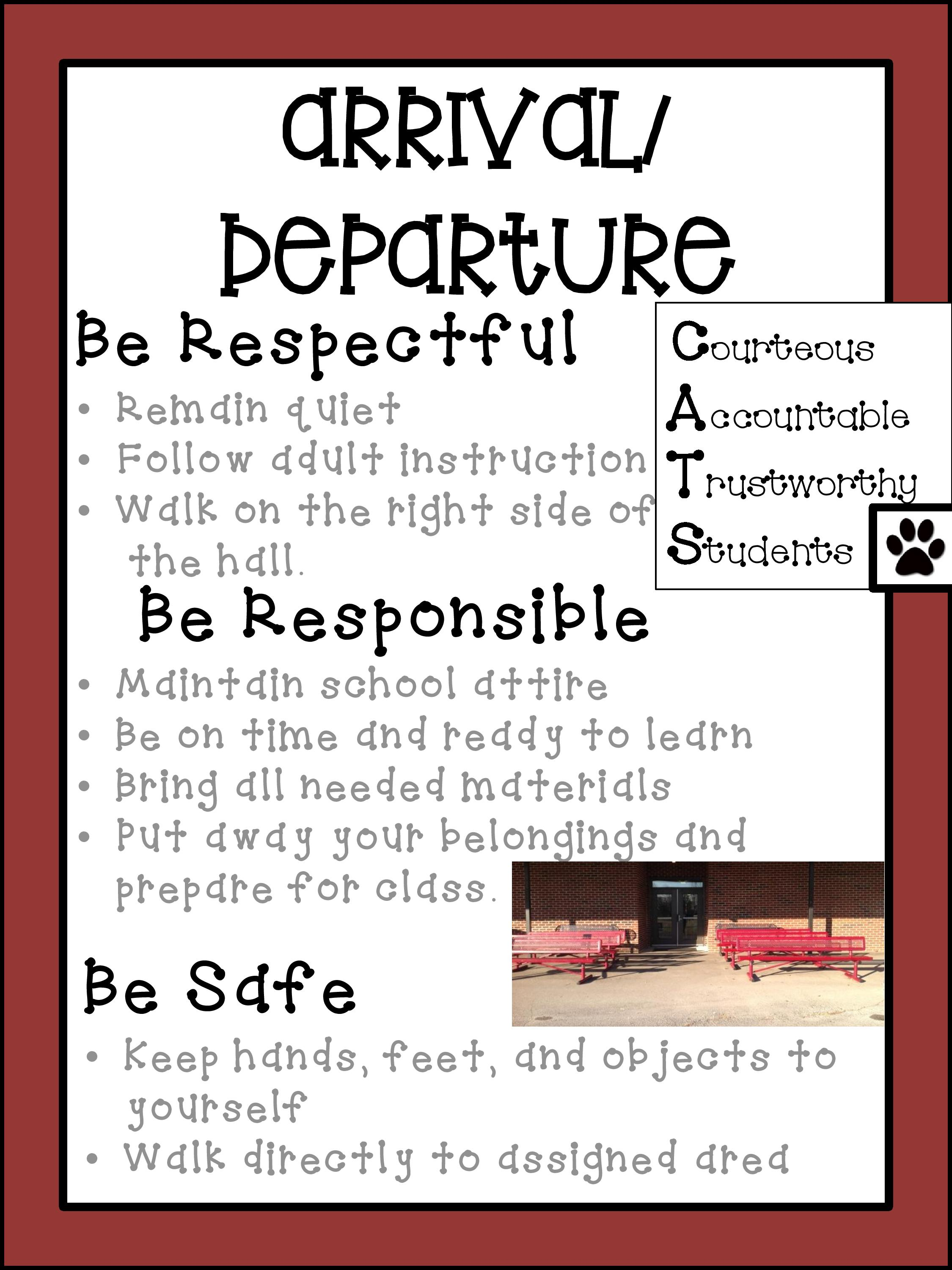 arrival/departure expectations