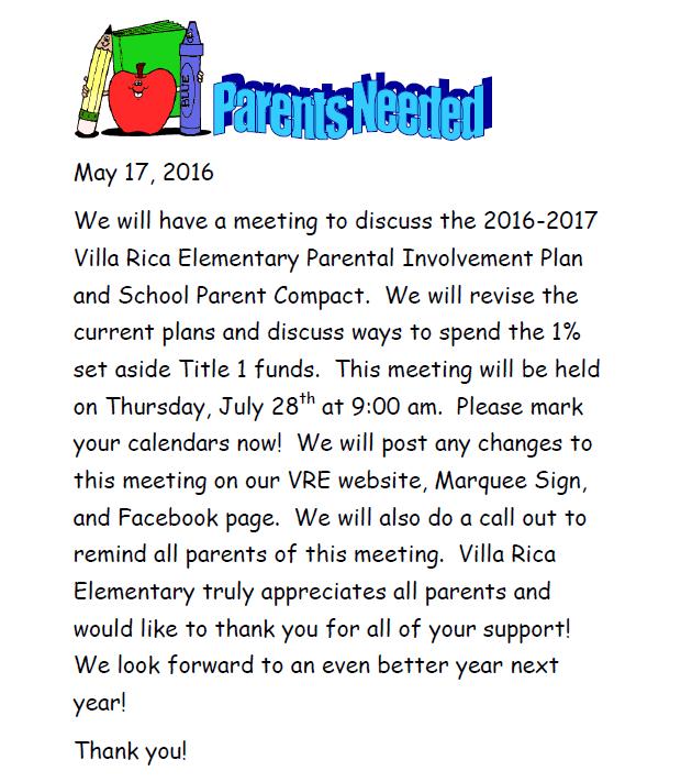 July 28th Parent Title I Meeting Reminder