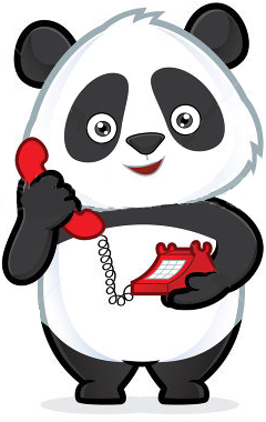 Panda using the Phone clip art