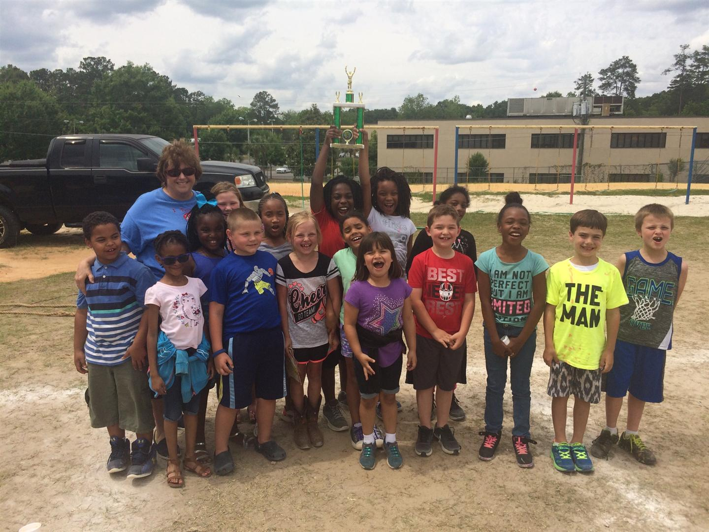 Mrs. Mathis second grade class with their field day trophy