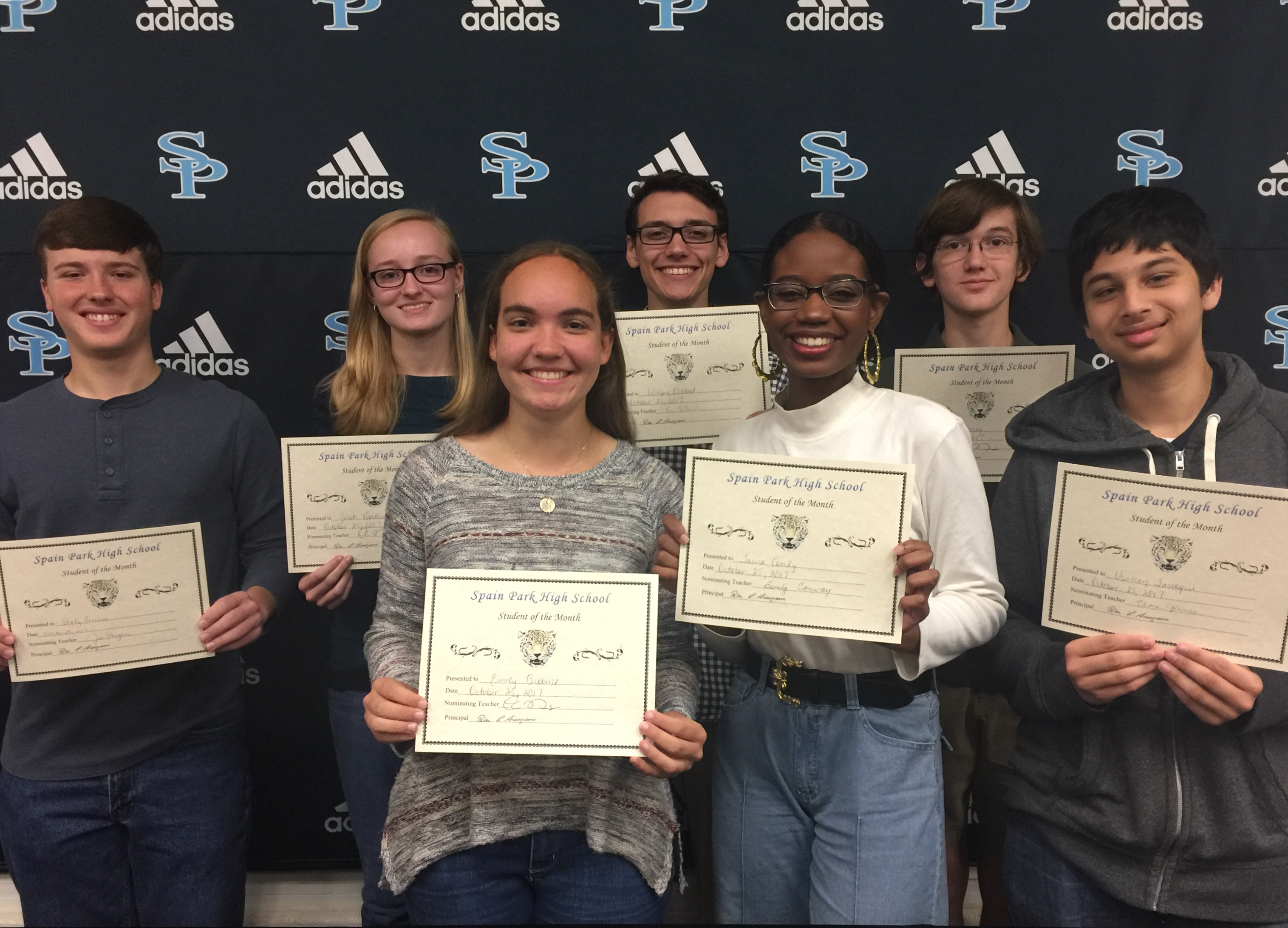 Back row left to right: Grady Freeman, Sarah Voorhees, Wilson Dillard, Alex Laney.   Front row left to right: Emily Broome, Taura Conley, Usman Farooqui