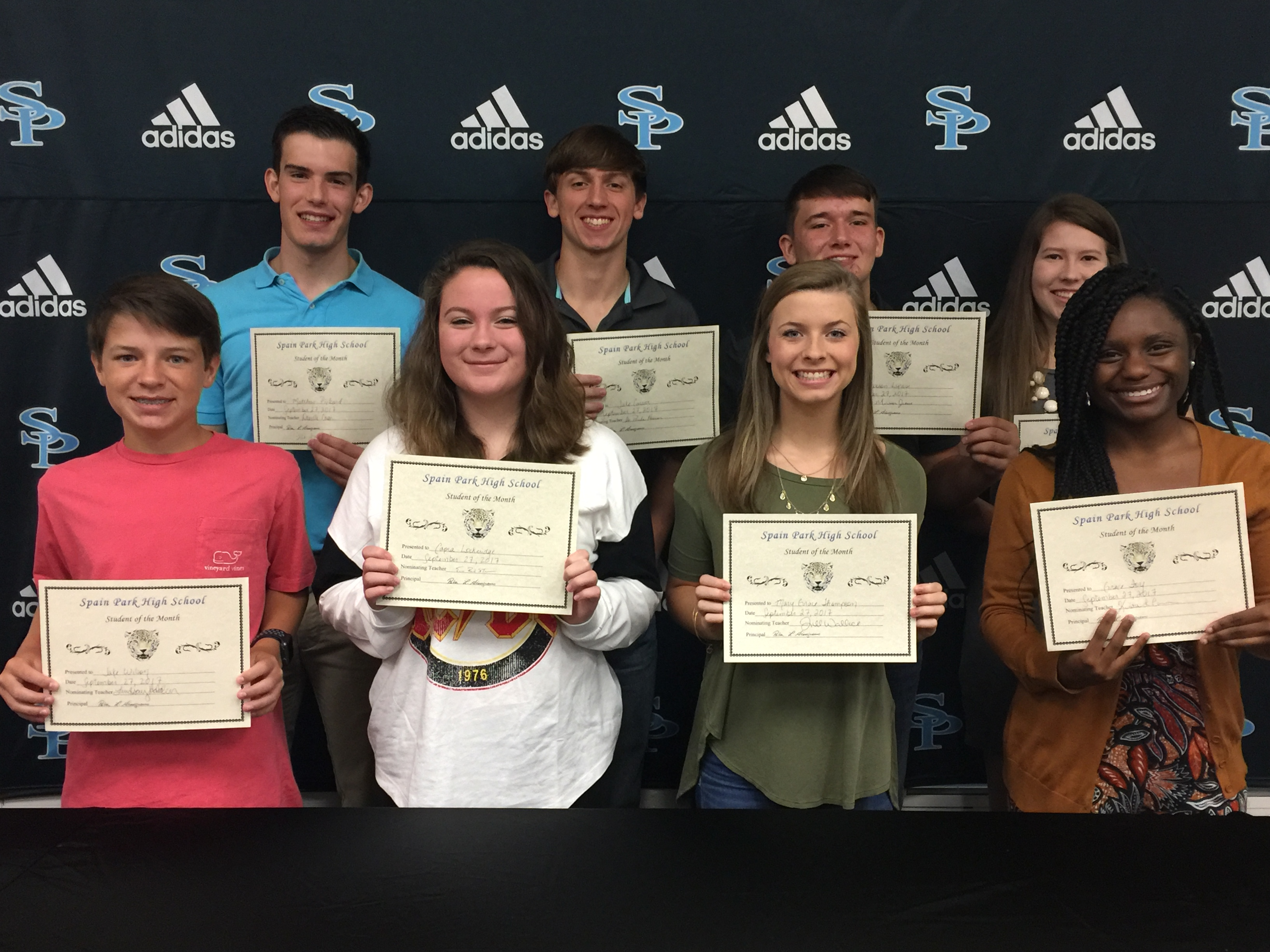 Students of the Month; Capra Lockeridge, Jake Wilson, Grace Foy, Jaxson Lucas, Mary Grace Thompson, Jake Carver, Grayson Bartlett, and Matthew Pickard.
