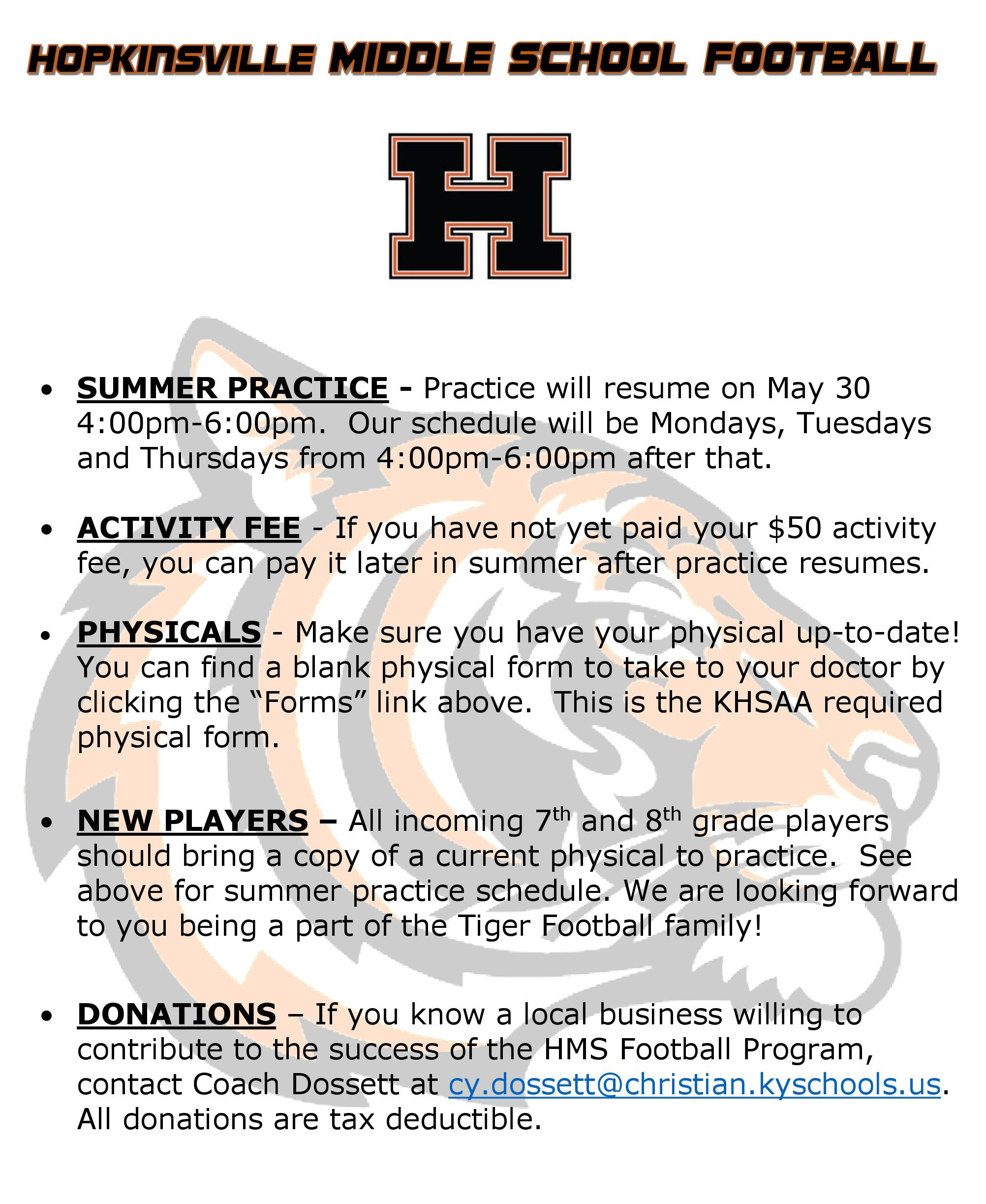 Hopkinsville Middle School: Sports - Football
