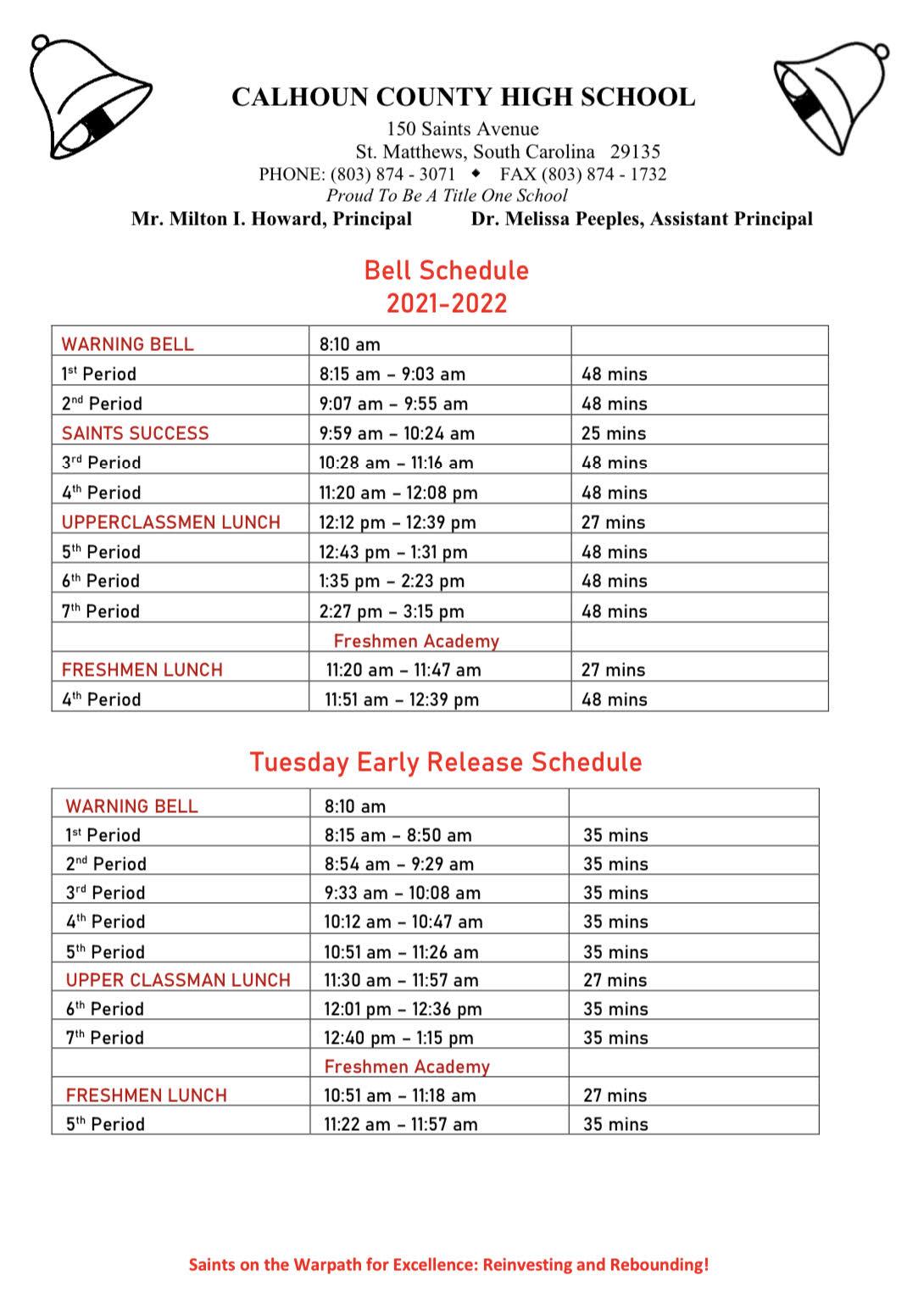 CCHS 2021-2022 Bell Schedule