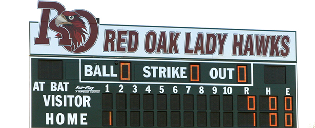 Red Oak Softball scoreboard