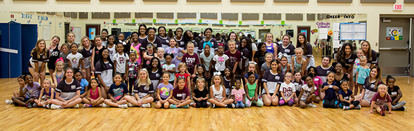 young girls at cheer clinic