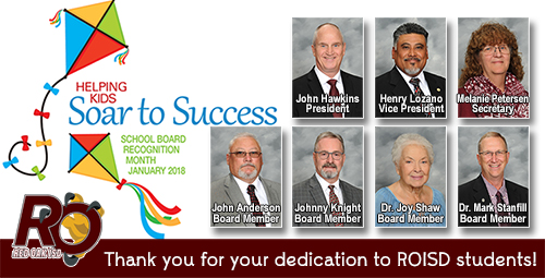 School Board Recognition with each board member and 2018 logo Helping Kids Soar to Success