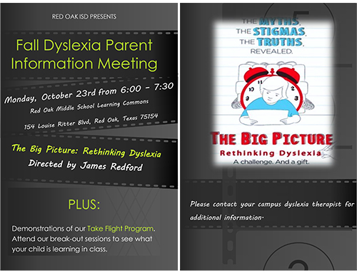 Dyslexia Parent Meeting flyer