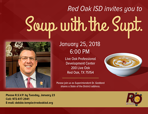 flyer for Soup with the Supt on January 25 at Live Oak Professional Cener