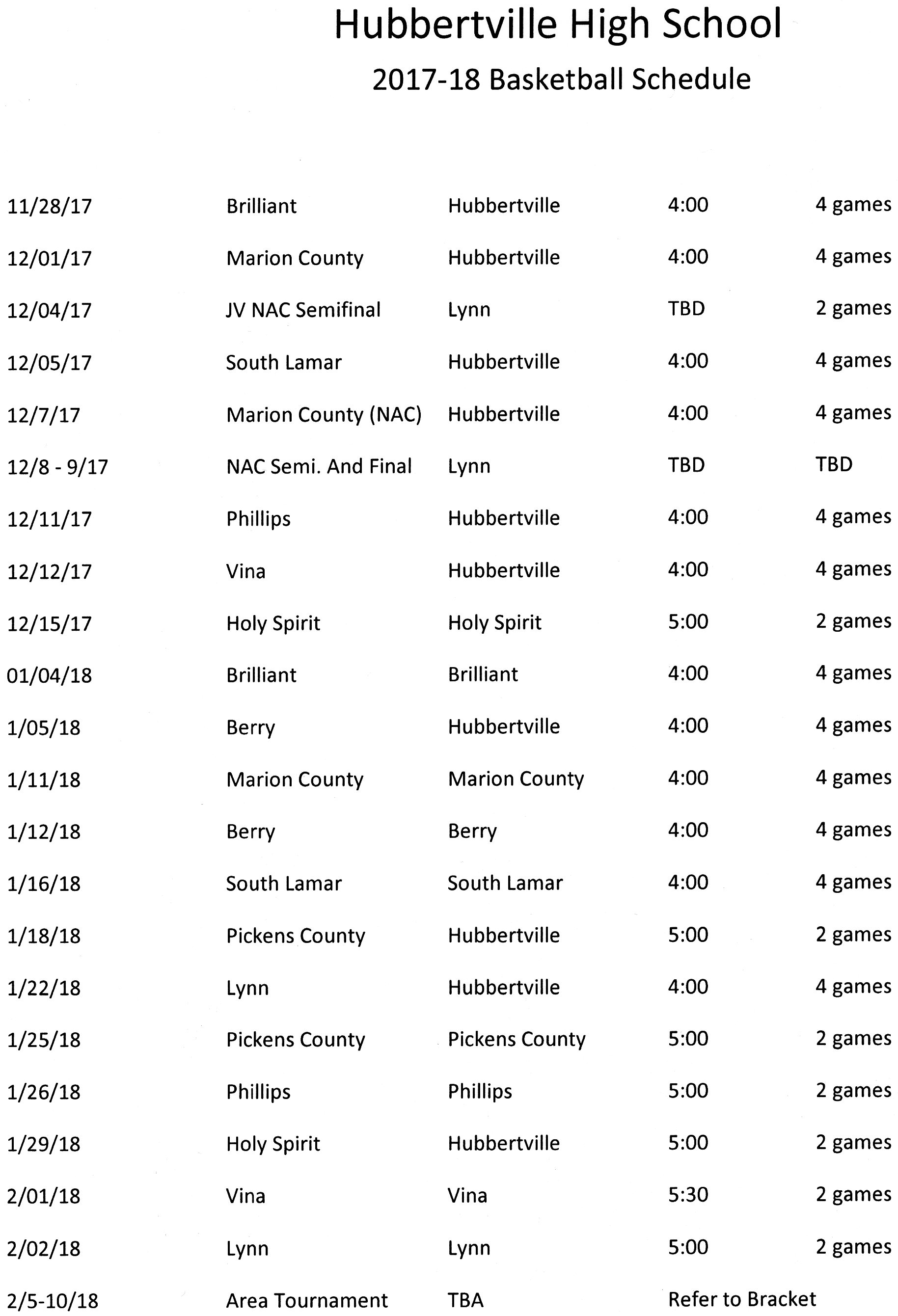 Basketball Schedule 2017-2018