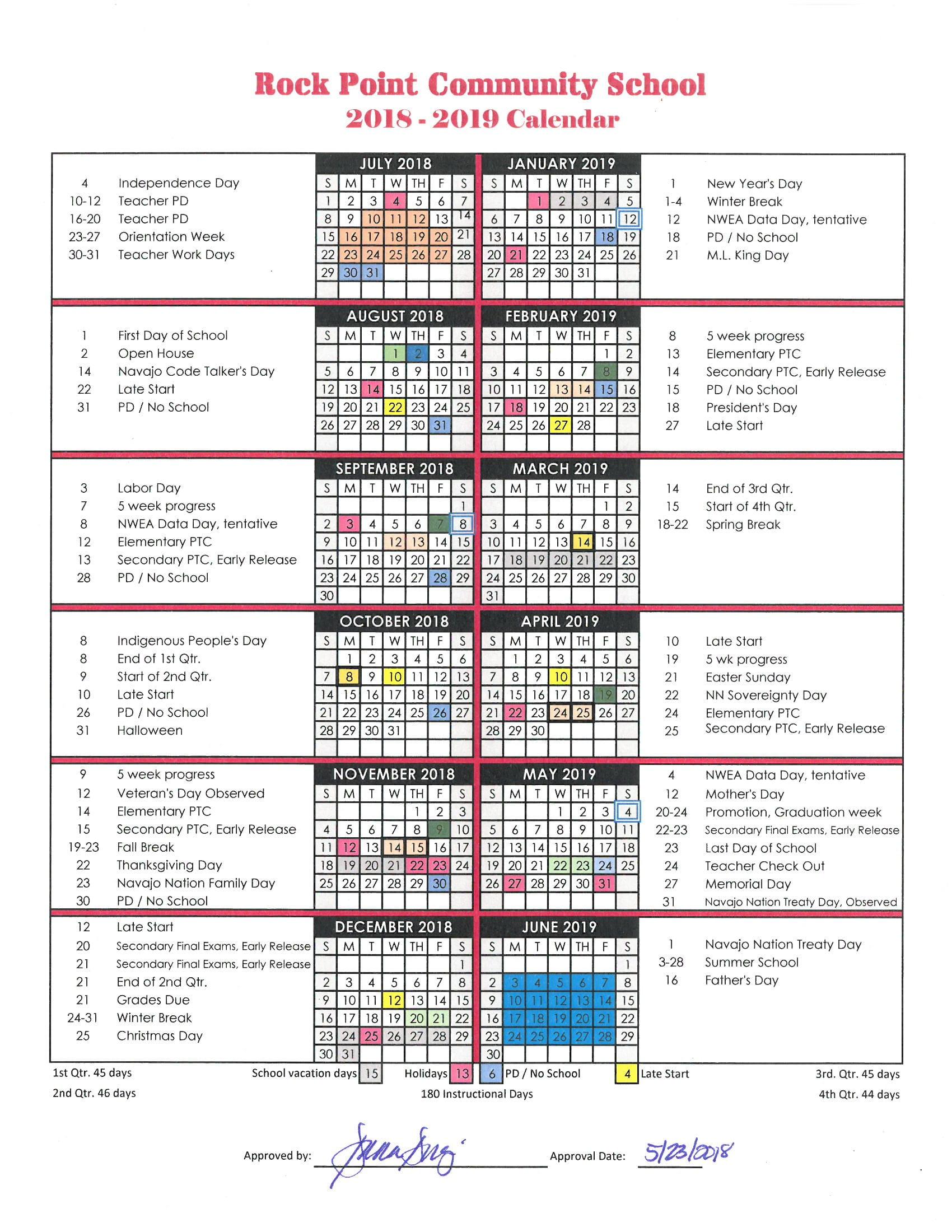 Rock Point Community School School Calendar 2018 2019