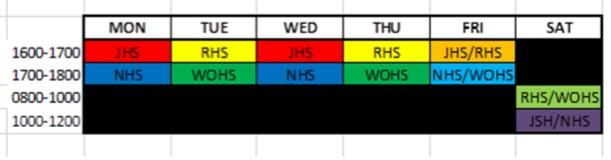 WOHS Schedule 2