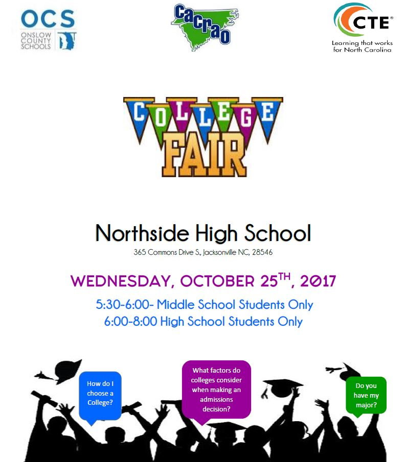 Onslow County College Fair, Wednesday Oct. 25th at Northside High School
