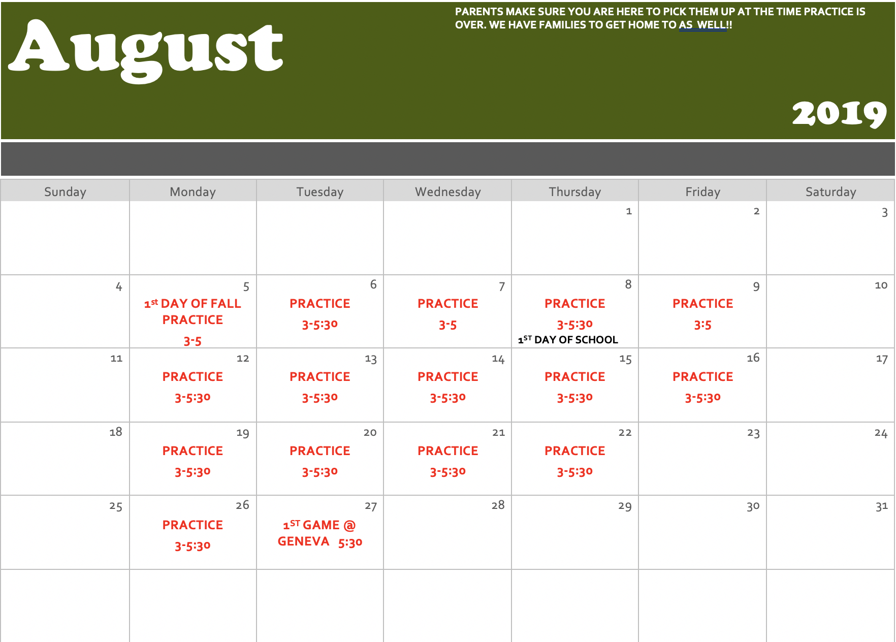 August Workout/Practice Schedule
