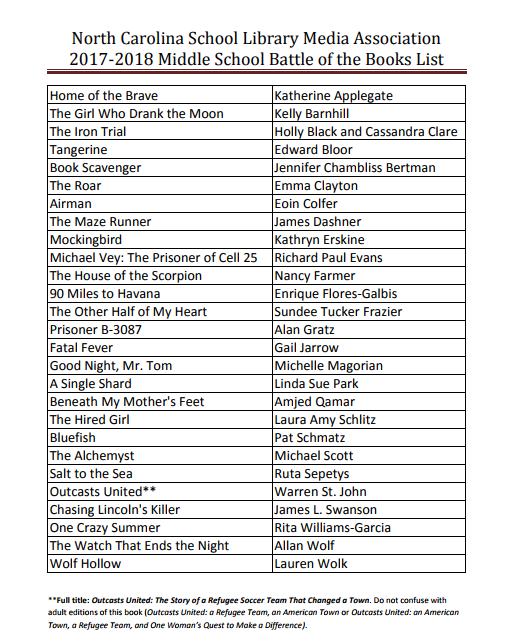 2017-18 Battle of the Books List