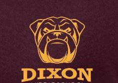 maroon shirt with a gold bulldog and the word DIXON