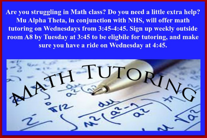 Math Tutoring - See Mrs. Terry for Info