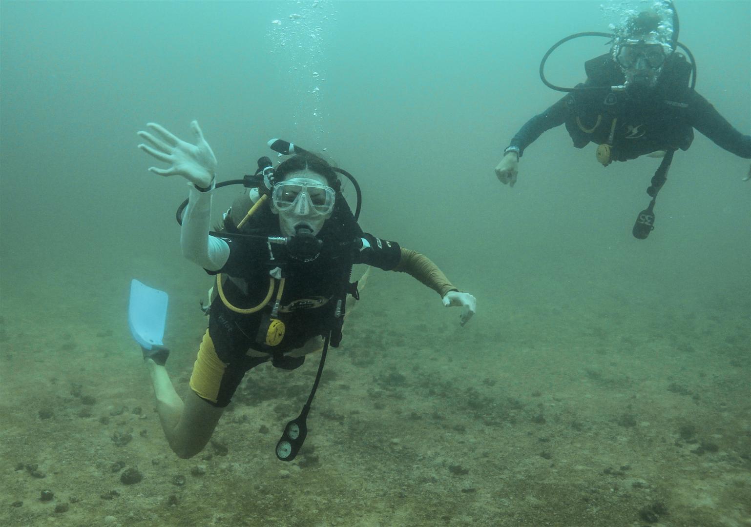 A picture of Mrs. McQuain on a scuba diving trip.