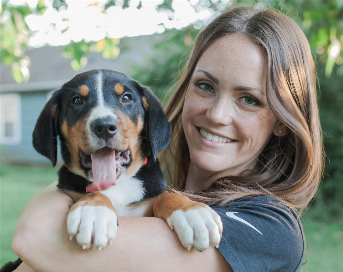 A picture of Mrs. McQuain and her dog, Cooper.