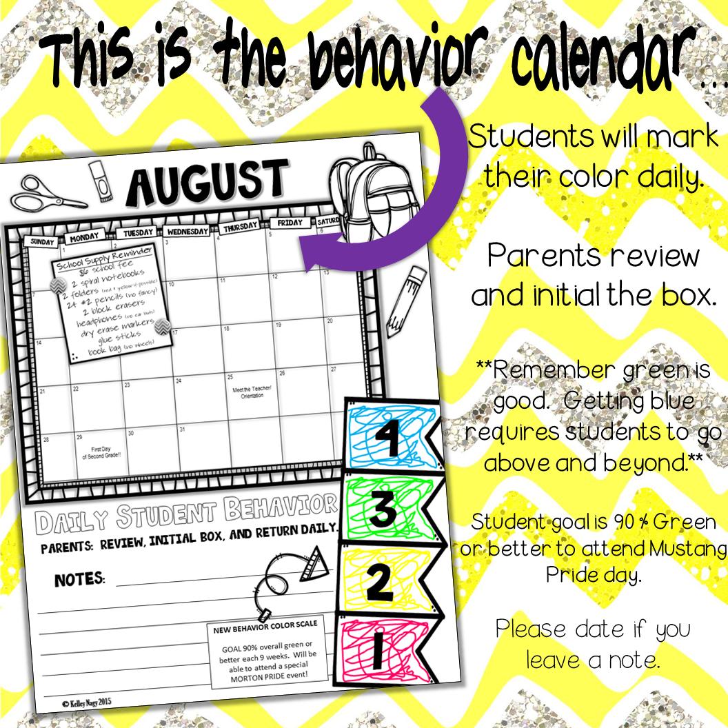 behavior calendar sign and return image