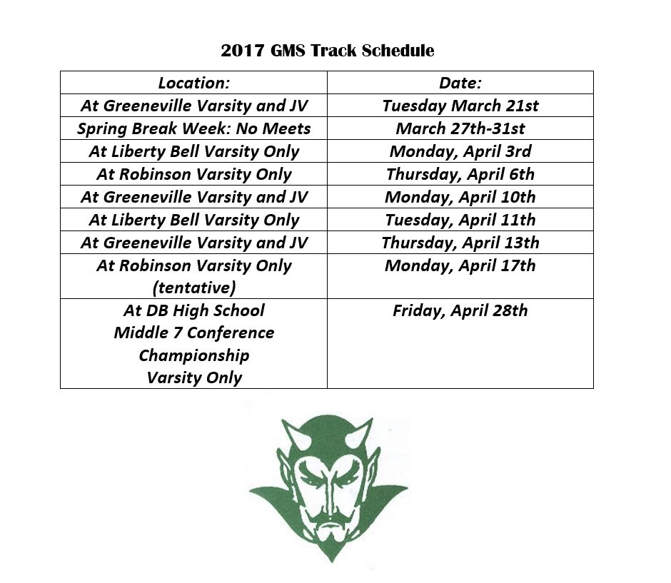 A picture of the GMS Track Schedule