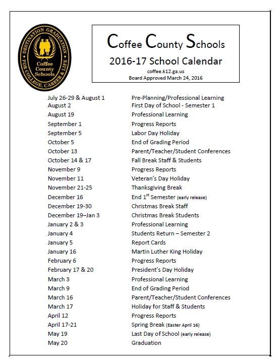 Houston County School Calendar.Coffee High School Latest News 2016 17 Calendar Approved