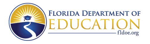This image includes a logo for the Florida Department of Education that is a circle.  The logo features a blue graduation cap with a tassle in front of a white sun placed in a yellow sky that is at the end of a winding road.  The road represents a student's educational path.  The sun represents Florida.