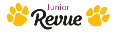 This image features the words Junior Revue.  Junior is placed over Revue, and the two words have two gold paw prints on each side of the words.