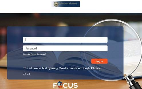 a screen shot of the focus login screen for parents